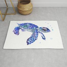 Cute Blue Baby Sea Turtle. children illustration, turtle art Rug