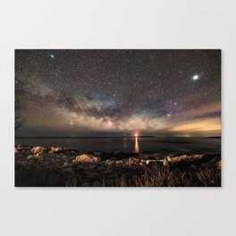 Milky way and the Twin lights Canvas Print