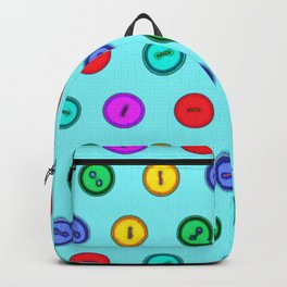 Colorful hand drawn vintage interior design and textile design buttons pattern Backpack