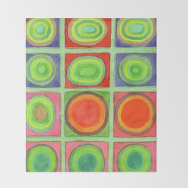 Green Grid filled with Circles and intense Colors Throw Blanket