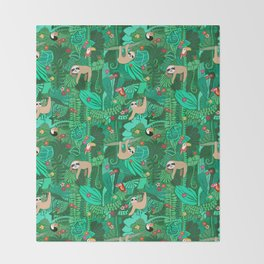 Sloths in the Emerald Jungle Pattern Throw Blanket