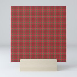 Christmas Berry Red and Green Tartan with Beige and White Lines Mini Art Print