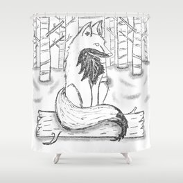 FOX black and white Shower Curtain