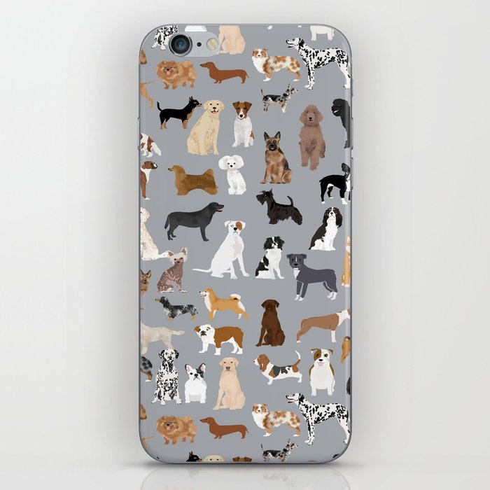 Mixed Dog lots of dogs dog lovers rescue dog art print pattern grey poodle shepherd akita corgi iPhone Skin