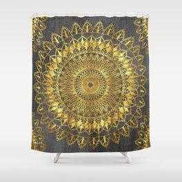 Golden mandalas on grey n.1 Shower Curtain