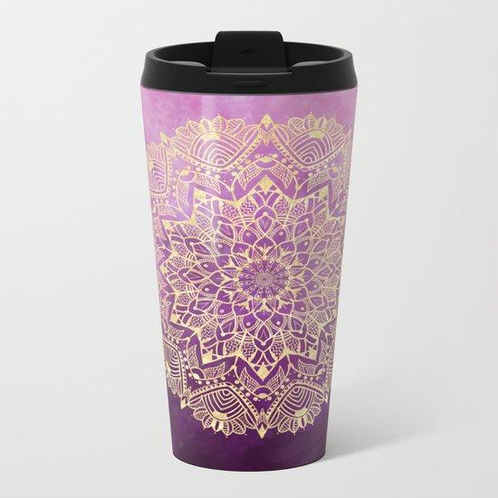 Gold mandala on maroon ink Metal Travel Mug