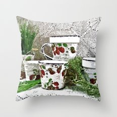 Old Cups and Greens - Painting Style Throw Pillow