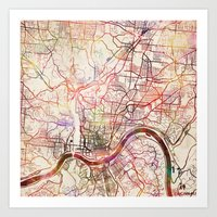 cincinnati Art Prints featuring Cincinnati by MapMapMaps.Watercolors