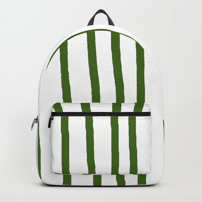 Simply Drawn Vertical Stripes in Jungle Green Rucksack