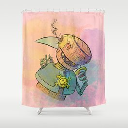 Robot Pirate Shower Curtain