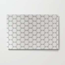 Graphene atomic structure on white Metal Print