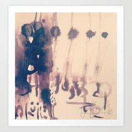 Kissing in the crowed, Ink on paper by Jain McKay. Art Print