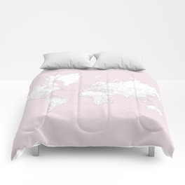 World map, highly detailed in dusty pink and white, square Comforters
