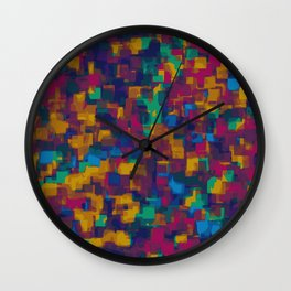 red orange blue drawing and painting square pattern background Wall Clock