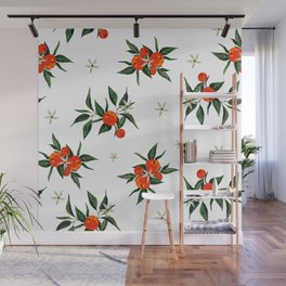 tangerine branches in bloom Wall Mural