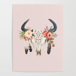 Floral bohemian watercolor animal stag head skull peach pink spiritual boho home wall decor Poster