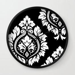Decorative Damask Art I White on Black Wall Clock