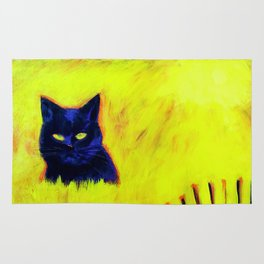 Cat in Yellow Field Rug