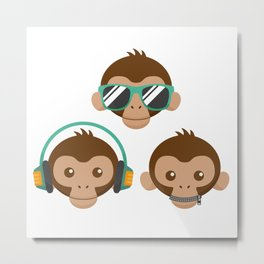 Three Monkeys Metal Print