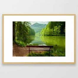 Red Lake with mountains, Romania Framed Art Print