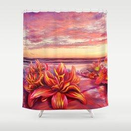 Radioactive flowers Shower Curtain