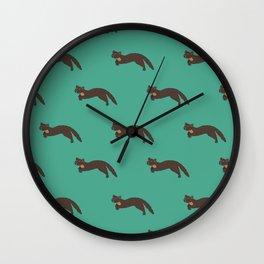 Run free Mr Pine Marten turquoise Wall Clock
