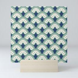 Fan Pattern Blue/Green Mini Art Print