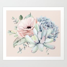 Elegant Blush Pink Succulent Garden by Nature Magick Art Print