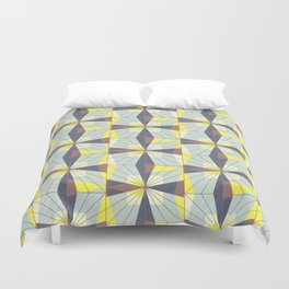 It's complicated. Bold geometric pattern in marsala, yellow and charcoal. Duvet Cover