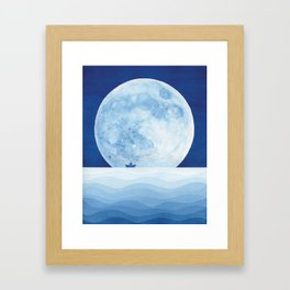 Full moon & paper boat Framed Art Print
