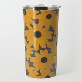 Black Eyed Susan Yellow Floral Retro Print Travel Mug