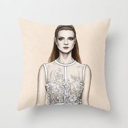 Elie Saab SS14 - fashion illustration Throw Pillow