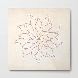 Flowery Rose Gold Mandala on Cream III Metal Print