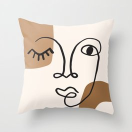 Abstract Face - Minimal #1 Throw Pillow