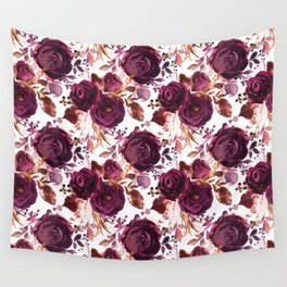 Burgundy pink white watercolor hand painted floral Wall Tapestry