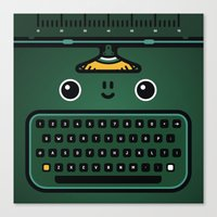 typewriter Canvas Prints featuring typewriter by The Geek Store
