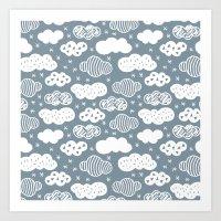 Raw geometric clouds blue sky illustration pattern Art Print