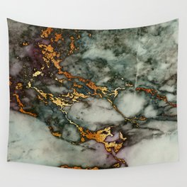 Gray Green Marble Glitter Gold Metallic Foil Style Wall Tapestry