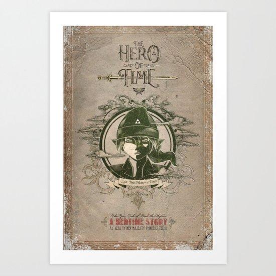 Legend of Zelda Link The Hero of Time Vintage Story Book Art Print