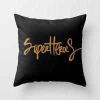 superheroes Throw Pillows featuring Superheroes by Indah Irawan
