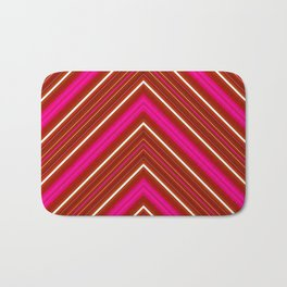 Modern Diagonal Chevron Stripes in Shades of Red and Pink Bath Mat