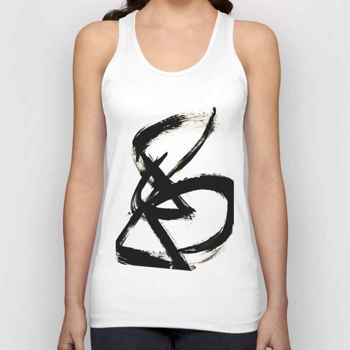 Brushstroke 3 - a simple black and white ink design Unisex Tank Top
