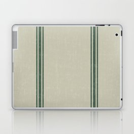 Green Stripes on Linen color background French Grainsack Distressed Country Farmhouse Laptop & iPad Skin