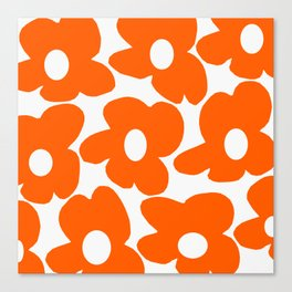 Orange Retro Flowers White Background #decor #society6 #buyart Canvas Print