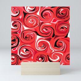 Red Apple Abstract Swirls Pattern Mini Art Print