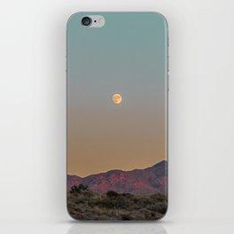 Sunset Moon Ridge // Grainy Red Mountain Range Desert Landscape Photography Yellow Fullmoon Blue Sky iPhone Skin