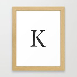 Letter K Initial Monogram Black and White Framed Art Print