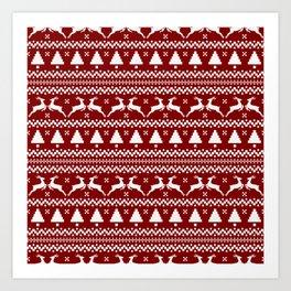 Large Dark Christmas Candy Apple Red Nordic Reindeer Stripe in White Art Print