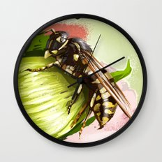 Wasp on flower 6 Wall Clock