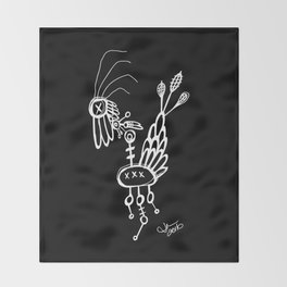Dead Bird - White on Black Throw Blanket